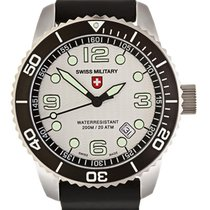Swiss Military Marlin Scuba Swiss Watch Black Silicone Strap...