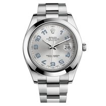 Rolex Datejust II Mens Stainless Steel Grey Arabic Automati...