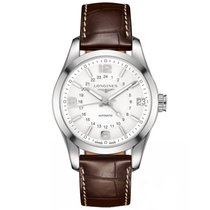 Longines Conquest Classic Brown Alligator Leather Mens Watch...