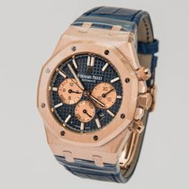 Audemars Piguet 18K Rose Gold Royal Oak Blue Dial Chronograph...