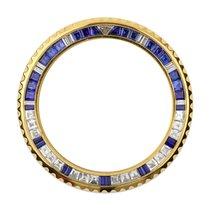 Rolex GMT-Master II Yellow Gold Diamond Blue Sapphire Custom...
