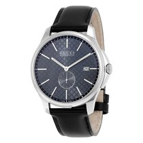 Gucci G-Timeless Automatic Grey Dial Black Leather Mens Watch...