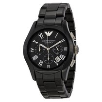 Armani Chronograph Black Dial Black Ceramic Mens Watch AR1400