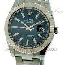 Rolex Datejust II, Blue Index Dial, White Gold Fluted Bezel -...