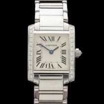 Cartier Tank Francaise Diamonds 18k White Gold Ladies WE100251
