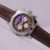 Breitling Chronomat 44 GMT Brown Dial Alligator Strap white...