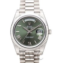勞力士 (Rolex) Day-Date Green 18k White Gold 40mm President - 228239