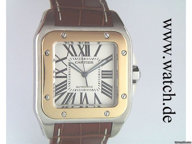 Cartier Santos 100 GM groes Modell Stahl/Gelbgold 51x42mm