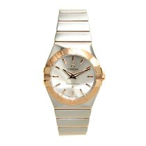 Omega Constellation 18k Rose Gold And Steel Silver Quartz...