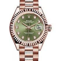 Rolex Datejust 28 279175 Olive Green Diamond Fluted Bezel Rose...