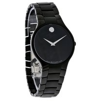 Movado Serio Series Mens Blk Dial Stainless Steel Quartz Watch...
