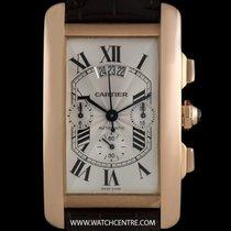 Cartier 18k R/G Silver Dial Tank Americaine Chrono XL B&P...