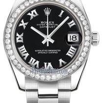 Rolex Datejust 31mm Stainless Steel 178384 Black Roman Oyster