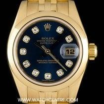 Rolex 18k Yellow Gold Blue Diamond Dial Datejust Ladies 179168