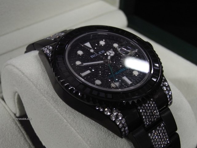 Rolex GMT Master II Black PVD Custom Diamond Set Unused 2013