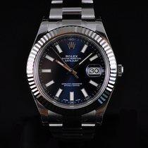 Rolex Datejust II 41MM Steel & 18K White Gold Bezel Blue