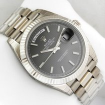 Rolex DAY-DATE 40 18K White Gold President Black Index Dial