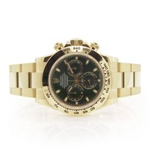 Rolex Mens Solid 18k Yellow Gold Daytona Green Index Dial New