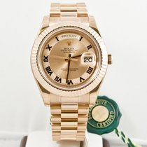 Rolex 41mm 18k Rose Gold Day Date II 218235 Pink Dial