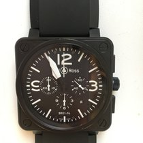 Bell & Ross Chronograph Carbon 46mm Crocodile Strap NEW