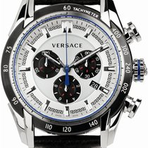 Versace Men's  V-ray Stainless Steel Watch Black Leather...