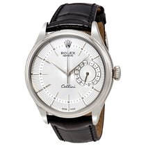 Rolex Cellini Date Silver Dial 18K White Gold Mens Watch...