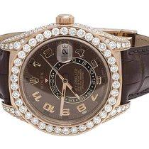 Rolex Mens 18K Rose Gold 326135 Rolex Brown Sky Dweller 42mm...