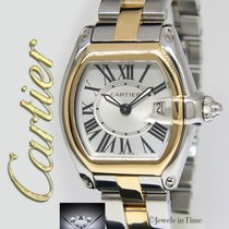 Cartier Roadster 18k Yellow Gold/Steel Silver Dial Ladies...