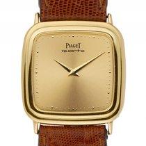 Piaget Quadrat Gelbgold Quarz Armband Leder 31x31mm Ref.7708...