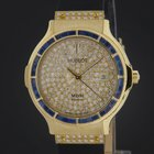 Hublot Yellow Gold Classic Elegant Pave Diamond Sapphire Watch...