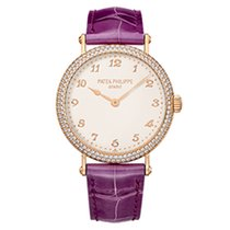 Patek Philippe Calatrava Ladies Rose Gold Double Row Diamonds