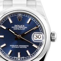 Rolex 31mm SS Midsize Datejust Blue Index Dial - Engraved