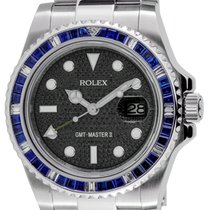 Rolex GMT-Master II Steel Blue Sapphire Bezel Black Pavé Dial...