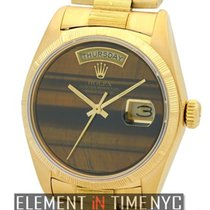 Rolex Day-Date President Bark Finish 18k Yellow Gold Tiger Eye...