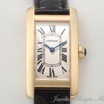 Cartier TANK AMERICAINE GELBGOLD 750 LEDER Damenuhr Amerika Gold