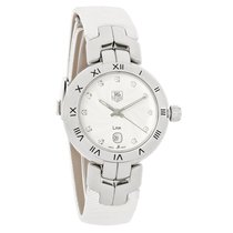 TAG Heuer Link Ladies Leather Strap Crystal Markers Swiss...