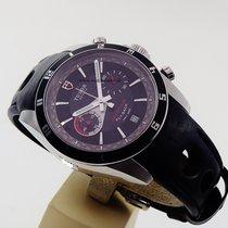 Tudor Grantour Flyback Chrono black dial black leather strap