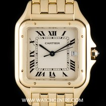 Cartier 18k Yellow Gold Silver Roman Dial Panthere Gents...