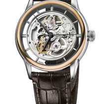 Oris Artelier Translucent Skeleton Gold Plated Leather