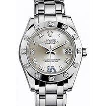 Rolex Pearlmaster 34 81319 Silver Roman White Gold Bezel VI...