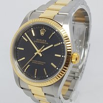 Rolex Oyster Perpetual 34mm 18K Gold Steel Dial Watch Full Set