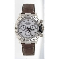 Rolex Daytona 116519 18K White Gold on Brown Leather Strap...