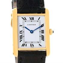 Cartier Tank Classic 18k Yellow Gold Black Strap Quartz Unisex...
