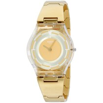 Swatch Gold Tone Beige Dial Watch Sfe104g