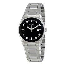 Bulova Mens Black Dial 8 Diamonds Bracelet Watch 96D104