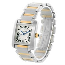 Cartier Tank Francaise Large Steel 18k Yellow Gold Date Watch...