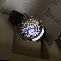 Bulgari 18K White Solid Gold Skeleton Watch Box/Papers/Service...