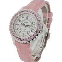 Chanel 33mm J12 with Pink Sapphire Bezel W1056