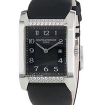 Baume & Mercier Hampton Rectangular Black Dial Diamonds -...