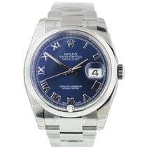 Rolex 116200 Datejust 36 Steel Blue Roman Num Dial Oyster Brac
